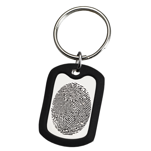 Large Stainless Steel Dog Tag Fingerprint Fingerprint Memorial Key Chain-Jewelry-New Memorials-Afterlife Essentials