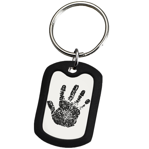 Large Stainless Steel Dog Tag Handprint Fingerprint Memorial Key Chain-Jewelry-New Memorials-Afterlife Essentials