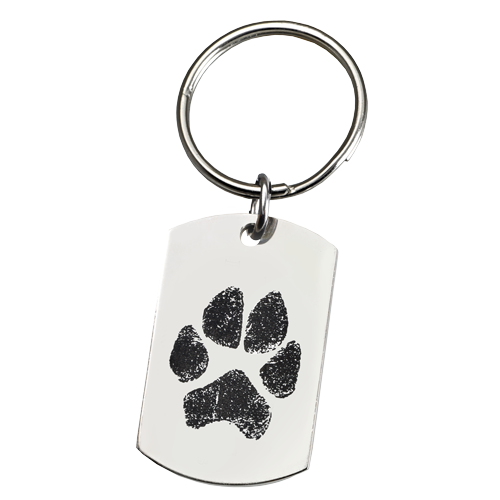 Large Stainless Steel Dog Tag Paw Print Pet Print Key Chain-Jewelry-New Memorials-Afterlife Essentials
