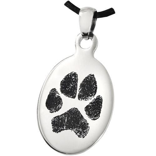 Stainless Steel Oval Tag Paw Print Pet Print Jewelry - Afterlife Essentials