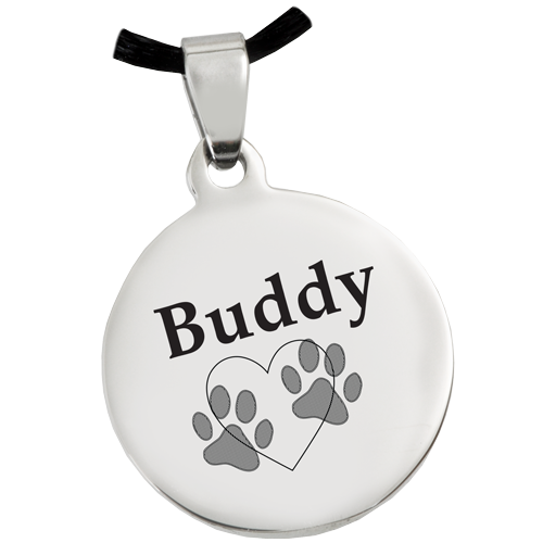 Stainless Steel Round Tag Paw Print Pet Print Jewelry - Afterlife Essentials