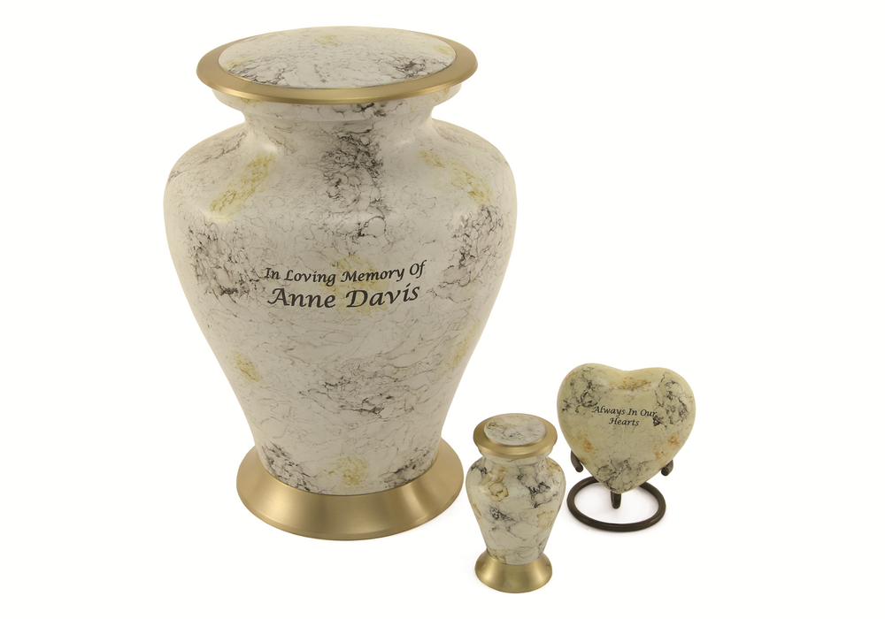 Glenwood White Marble Large/Adult Cremation Urn-Cremation Urns-Terrybear-Afterlife Essentials