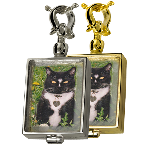 Victorian Glass Rectangle Locket (Not For Ashes) Pet Cremation Jewelry-Jewelry-New Memorials-Free Black Satin Cord-Afterlife Essentials