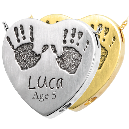 Baby Handprints with Name + Age on Heart Cremation Jewelry-Jewelry-New Memorials-Afterlife Essentials