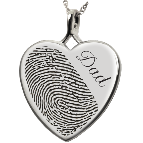 Heart Halfprint + Name Jewelry Pendant Cremation Jewelry-Jewelry-New Memorials-925 Sterling Silver-No Chamber (flat)-Afterlife Essentials