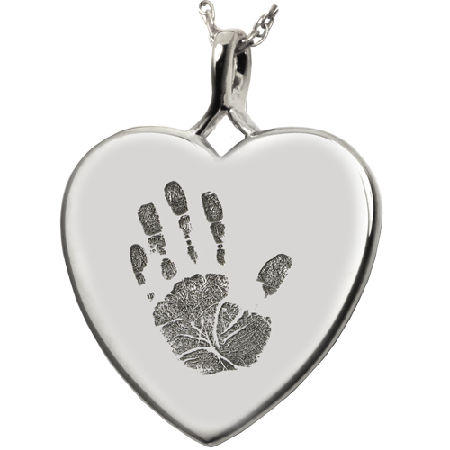 Heart Handprint Pendant Cremation Jewelry-Jewelry-New Memorials-925 Sterling Silver-No Chamber (flat)-Afterlife Essentials