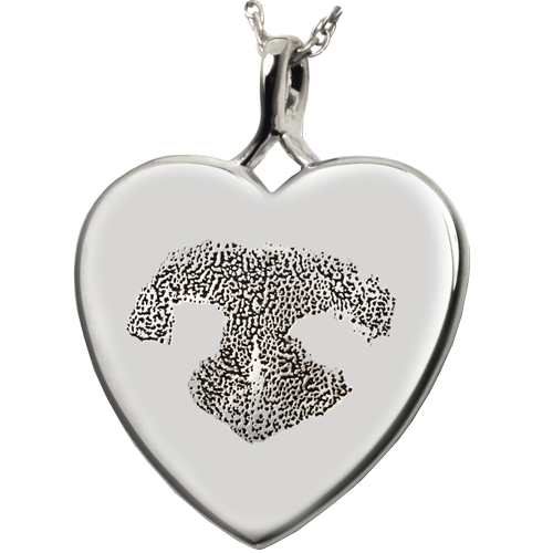 B&B Heart Actual Noseprint Pet Cremation Jewelry-Jewelry-New Memorials-925 Sterling Silver-No Chamber (flat)-Afterlife Essentials