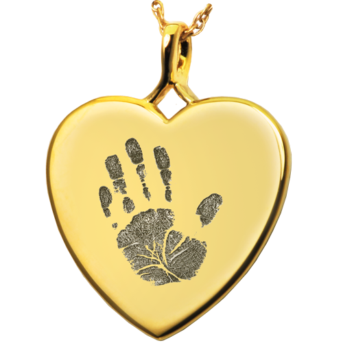 Heart Handprint Pendant Cremation Jewelry-Jewelry-New Memorials-14K Solid Yellow Gold (allow 4-5 weeks)-No Chamber (flat)-Afterlife Essentials