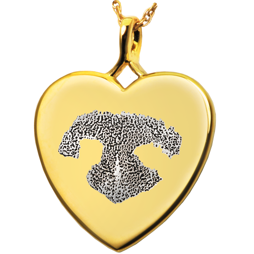 B&B Heart Actual Noseprint Pet Cremation Jewelry-Jewelry-New Memorials-14K Solid Yellow Gold (allow 4-5 weeks)-No Chamber (flat)-Afterlife Essentials