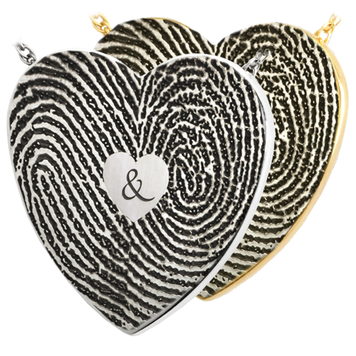 Double Print with Ampersand Fingerprint Cremation Jewelry-Jewelry-New Memorials-Afterlife Essentials