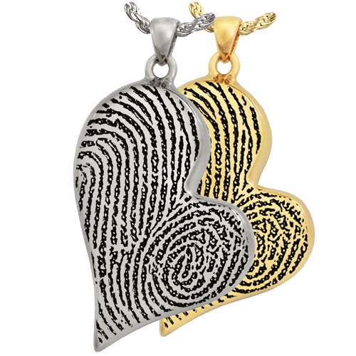 Teardrop Heart Double Fingerprint Pendant Cremation Jewelry-Jewelry-New Memorials-Afterlife Essentials