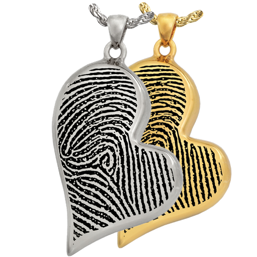 Teardrop Heart Full Coverage Fingerprint Pendant Cremation Jewelry-Jewelry-New Memorials-Afterlife Essentials