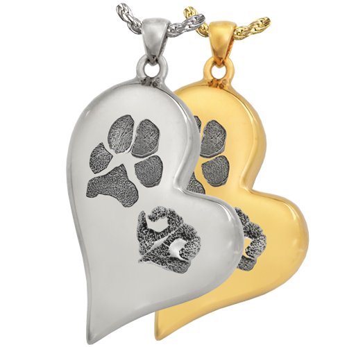 B&B Teardrop Heart Pawprint and Noseprint Pendant Cremation Jewelry-Jewelry-New Memorials-Afterlife Essentials