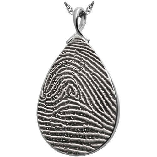 Teardrop Fingerprint Full Coverage or Rim Pendant Cremation Jewelry-Jewelry-New Memorials-925 Sterling Silver-Full-Coverage-No Chamber (flat)-Afterlife Essentials