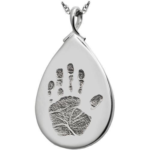 Teardrop Handprint Pendant Cremation Jewelry-Jewelry-New Memorials-925 Sterling Silver-No Chamber (flat)-Afterlife Essentials