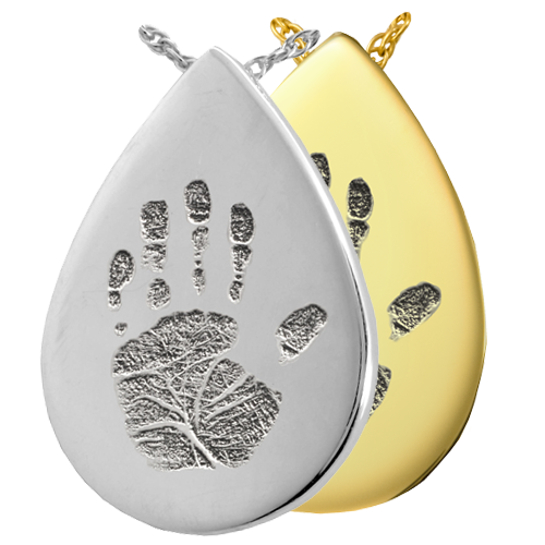 Teardrop Handprint Pendant Cremation Jewelry-Jewelry-New Memorials-Afterlife Essentials