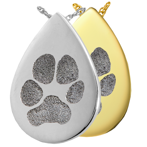 B&B Teardrop Actual Pawprint Cremation Jewelry-Jewelry-New Memorials-Afterlife Essentials
