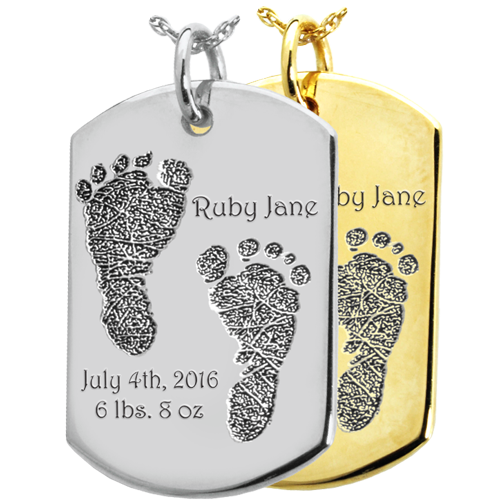 Baby 2 Footprints on Dog Tag Flat Charm Memorial Jewelry-Jewelry-New Memorials-Afterlife Essentials