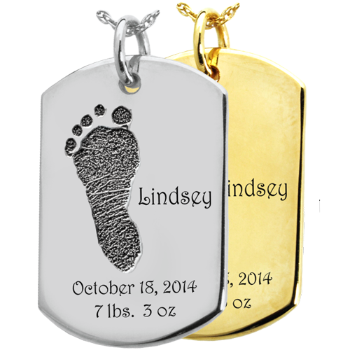 Baby Footprint on Dog Tag Flat Charm Memorial Jewelry-Jewelry-New Memorials-Afterlife Essentials