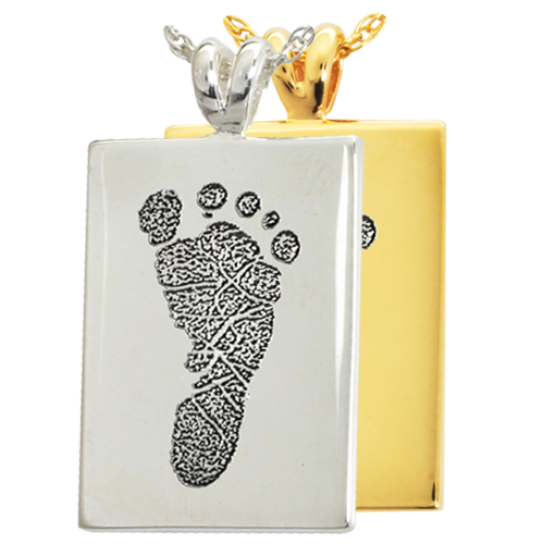 B&B Rectangle Footprint Cremation Jewelry-Jewelry-New Memorials-Afterlife Essentials