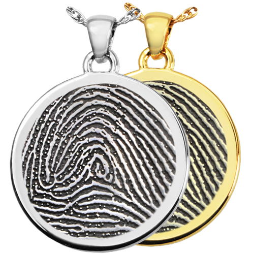 B&B Round Fingerprint Cremation Jewelry-Jewelry-New Memorials-Afterlife Essentials