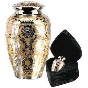 "509/10"" Silver/Gold Solid Brass Cremation Urn-Cremation Urns-Urns of Distinction-Afterlife Essentials"