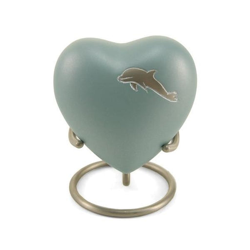 Aria Dolphin Heart Keepsake with velvet box Cremation Urn-Cremation Urns-Terrybear-Afterlife Essentials