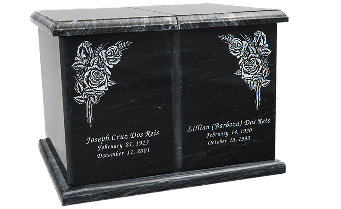 Evermore Black Rectangle Companion Urn 420 cu. in.-Cremation Urns-Infinity Urns-Afterlife Essentials