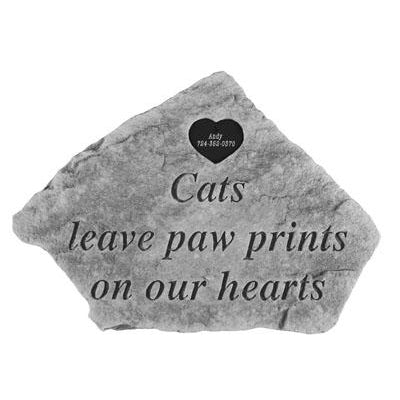 Cats leave…w/heart Memorial Gift-Memorial Stone-Kay Berry-Afterlife Essentials