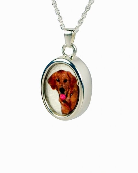 Sterling Silver Oval Photo Pendant Cremation Jewelry-Jewelry-Cremation Keepsakes-Afterlife Essentials