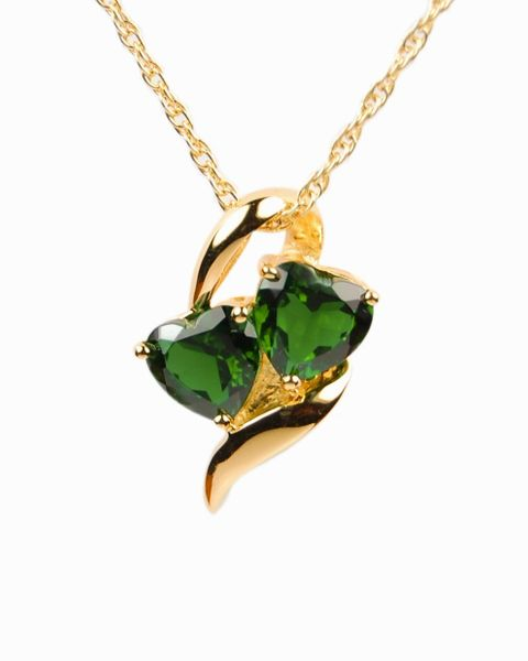 Gold Plated Hearts with Green Stones Cremation Jewelry-Jewelry-Cremation Keepsakes-Afterlife Essentials