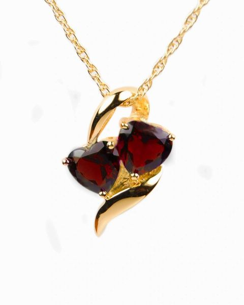 Gold Plated Hearts with Red Stones Cremation Jewelry-Jewelry-Cremation Keepsakes-Afterlife Essentials