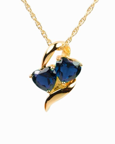 Gold Plated Hearts with Blue Stones Cremation Jewelry-Jewelry-Cremation Keepsakes-Afterlife Essentials