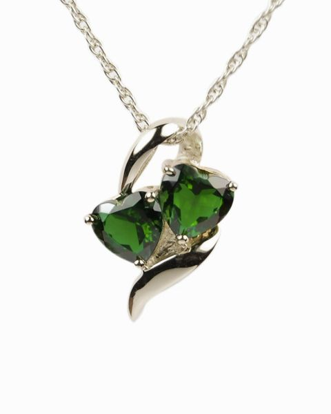 Sterling Silver Hearts with Green Stones Cremation Jewelry-Jewelry-Cremation Keepsakes-Afterlife Essentials