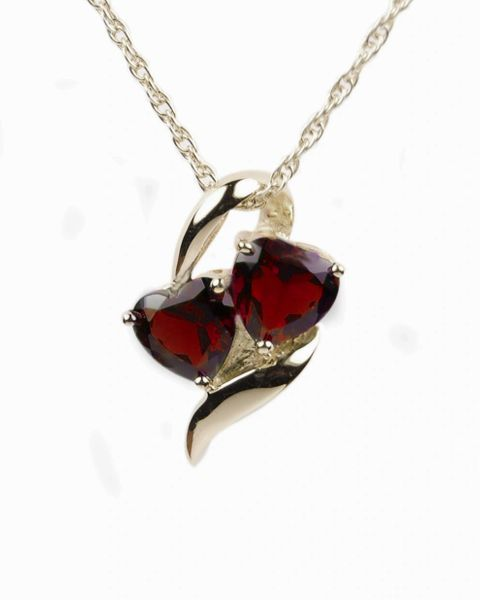 Sterling Silver Hearts with Red Stones Cremation Jewelry-Jewelry-Cremation Keepsakes-Afterlife Essentials