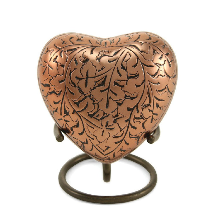 Classic Engraved Copper Oak Heart Keepsake with velvet box Cremation Urn-Cremation Urns-Terrybear-Afterlife Essentials