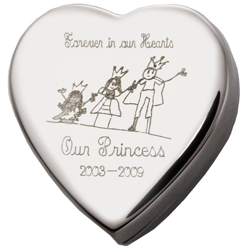 Heart Cremation Box With Custom Drawing Urn Keepsake - Afterlife Essentials