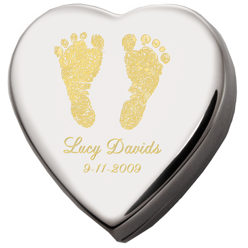 Custom Heart Baby Feet Mini Cremation Urn Keepsake-Cremation Urns-New Memorials-Afterlife Essentials