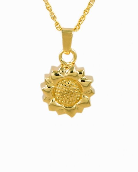 Gold Plated Sunflower Cremation Jewelry-Jewelry-Cremation Keepsakes-Afterlife Essentials