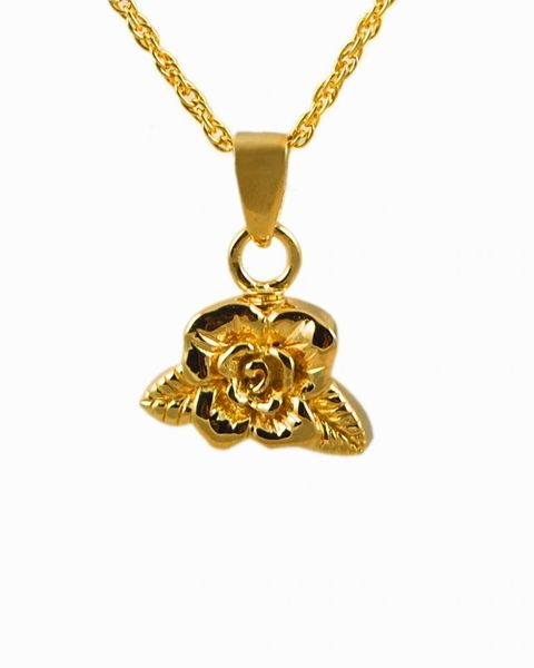 Gold Plated Rose Cremation Jewelry-Jewelry-Cremation Keepsakes-Afterlife Essentials