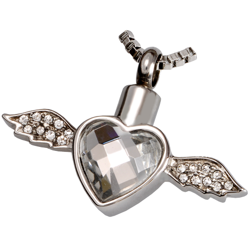 Stainless Steel Winged Heart Cremation Jewelry-Jewelry-New Memorials-Free Black Satin Cord-Afterlife Essentials