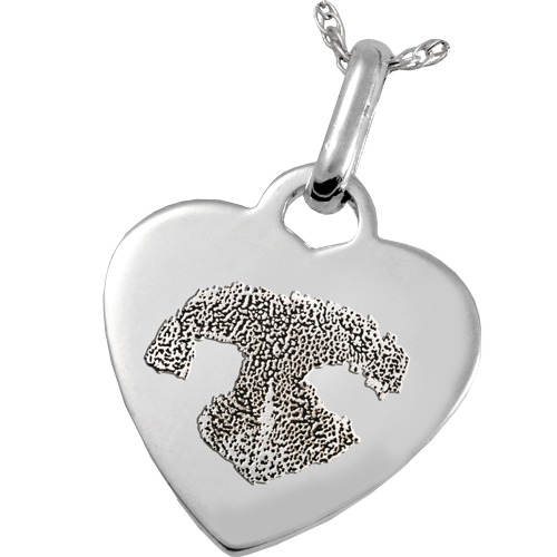 Sterling Silver Heart Tag Noseprint Pet Memorial Jewelry-Jewelry-New Memorials-Free Black Satin Cord-Afterlife Essentials