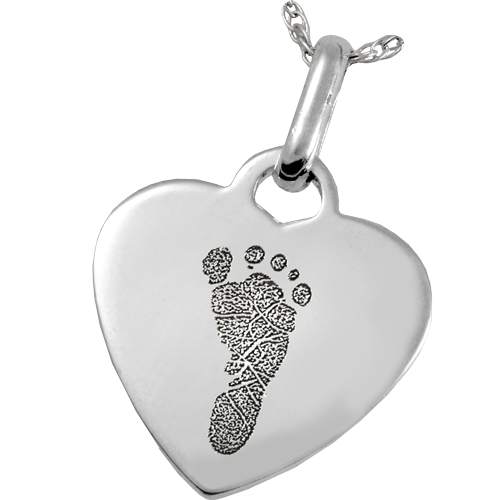 Sterling Silver Heart Pendant Footprint Fingerprint Memorial Jewelry-Jewelry-New Memorials-Free Black Satin Cord-Afterlife Essentials
