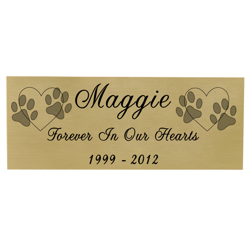 Engraved Pet Memorial Plaque- Small Brass Finish Black Fill-Plaques-New Memorials-Afterlife Essentials