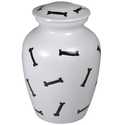 "Bones Black & White Dog Urn 10"" Large Pet Cremation Urns - Afterlife Essentials"