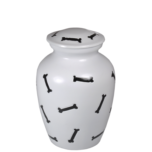 "Bones Black & White Dog Urn 6"" Pet Cremation Urns - Afterlife Essentials"