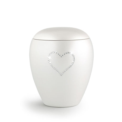 Heart & Soul White Keepsake Cremation Urn-Cremation Urns-Infinity Urns-Afterlife Essentials