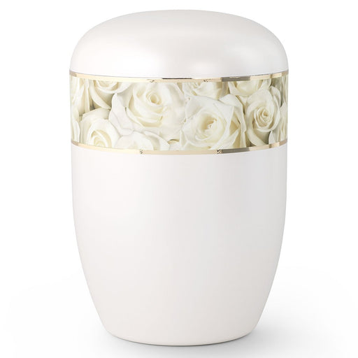 Biodegradable Series White Roses 210 cu in Cremation Urn-Cremation Urns-Infinity Urns-Afterlife Essentials