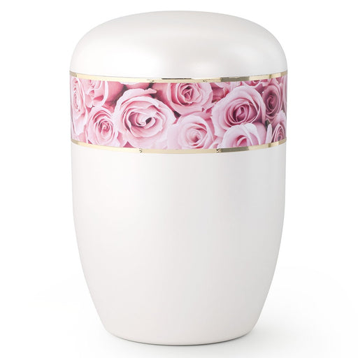 Biodegradable Series Pink Roses 210 cu in Cremation Urn-Cremation Urns-Infinity Urns-Afterlife Essentials