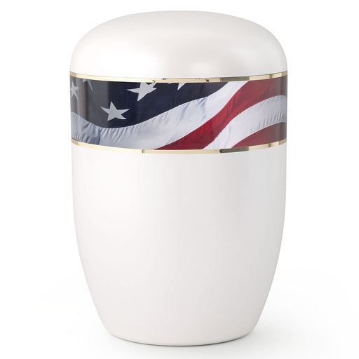 Biodegradable Series Waving American Flag 210 cu in Cremation Urn-Cremation Urns-Infinity Urns-Afterlife Essentials
